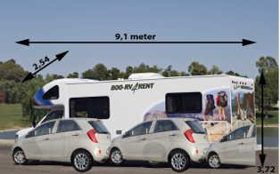 Autocamper på 30 fod i forhold til en Kia Picanto